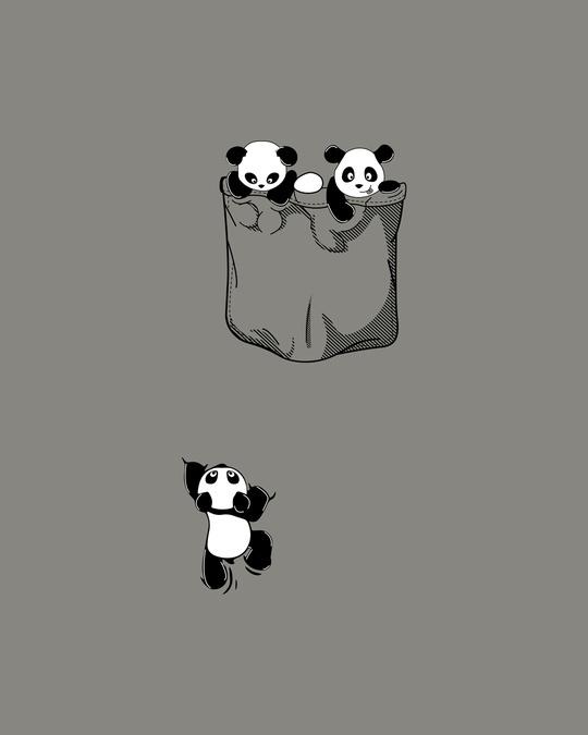 Shop Climbing pocket panda Round Neck 3/4 Sleeve T-Shirts Meteor Grey