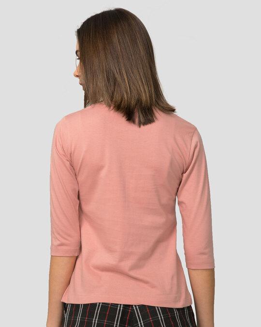 Shop Climbing pocket panda Round Neck 3/4 Sleeve T-Shirts Misty Pink-Design