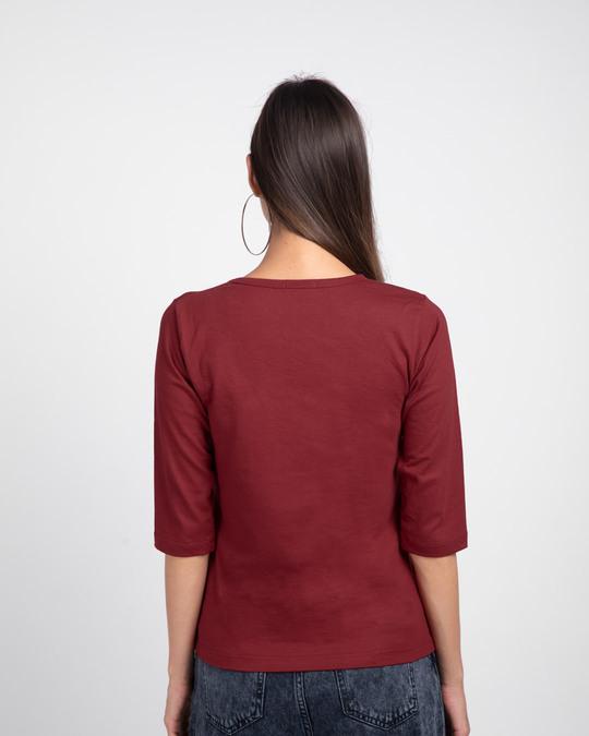 Shop Climbing pocket panda Round Neck 3/4 Sleeve T-Shirts Scarlet Red -Full