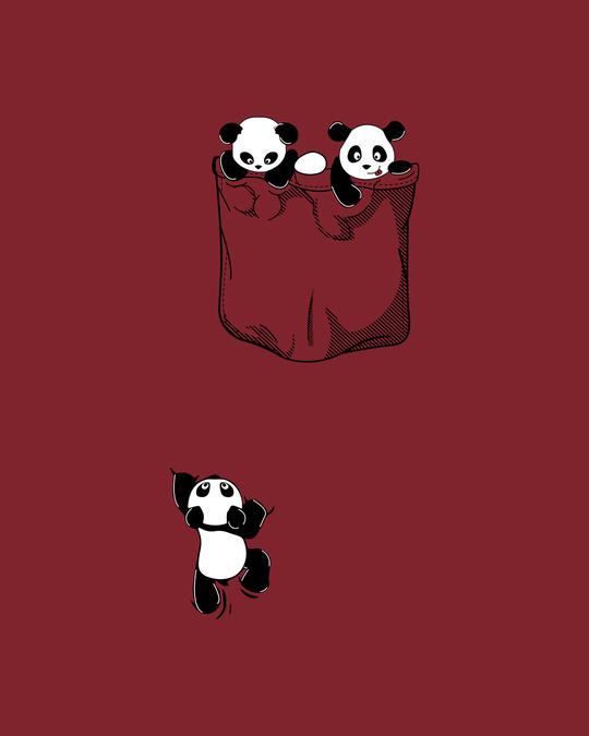 Shop Climbing pocket panda Round Neck 3/4 Sleeve T-Shirts Scarlet Red