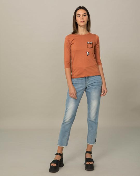 Shop Climbing Pocket Panda Round Neck 3/4th Sleeve T-Shirt-Full
