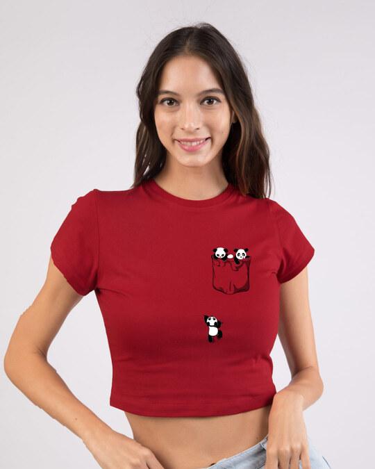 Shop Climbing Pocket Panda Round Neck Crop Top T-Shirt-Front