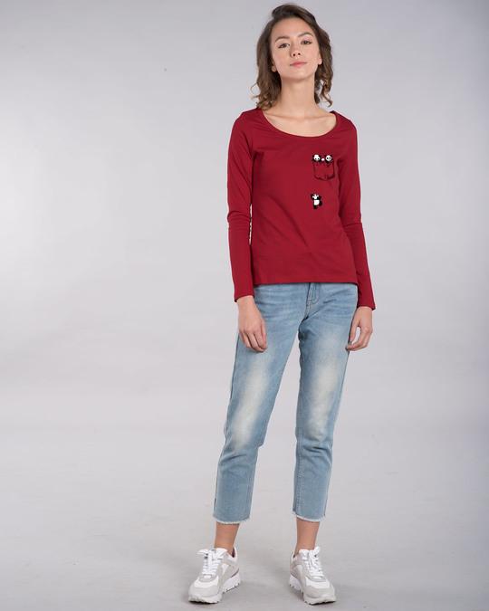 Shop Climbing Pocket Panda Scoop Neck Full Sleeve T-Shirt-Design