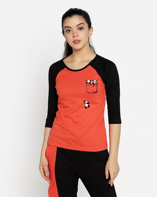 Shop Climbing Pocket Panda Round Neck 3/4 Sleeve Raglan T-Shirts-Front