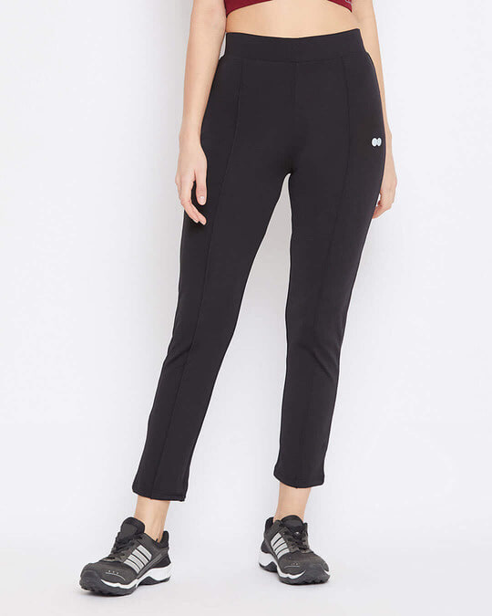 Shop Activewear Ankle Length Tights In Black-Front