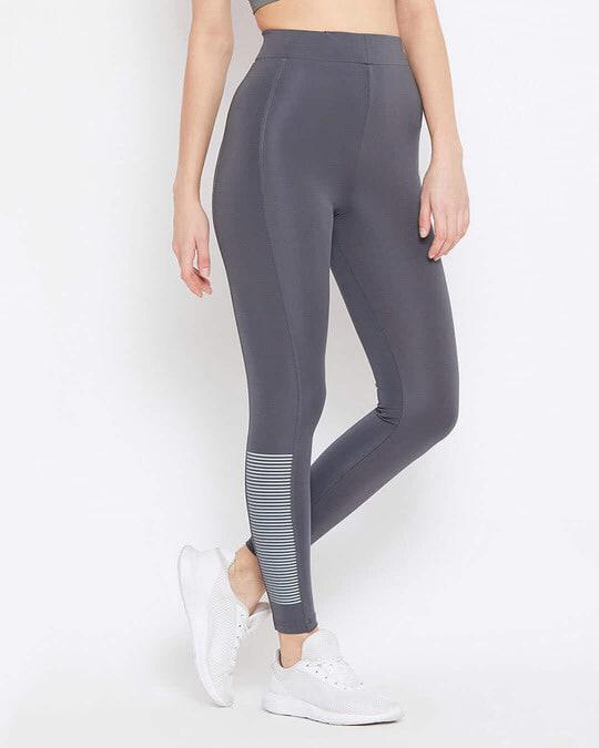 Shop Activewear Ankle Length Tights In Dark Grey-Design