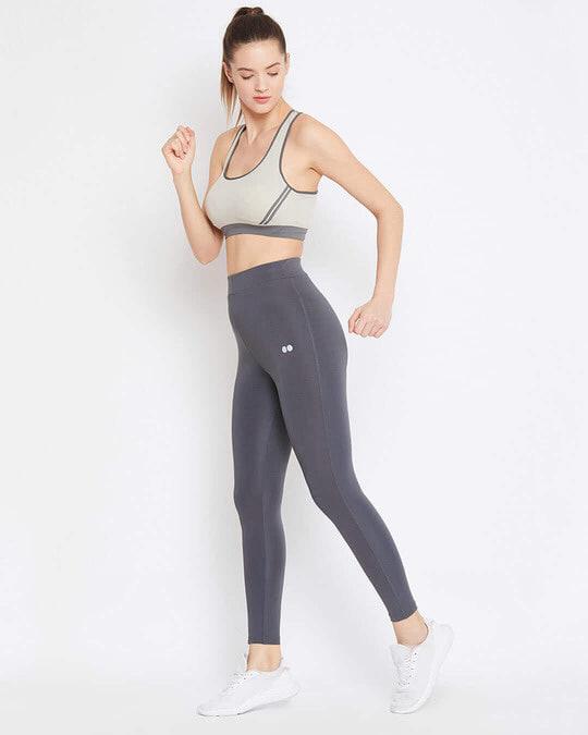 Shop Activewear Ankle Length Tights In Dark Grey