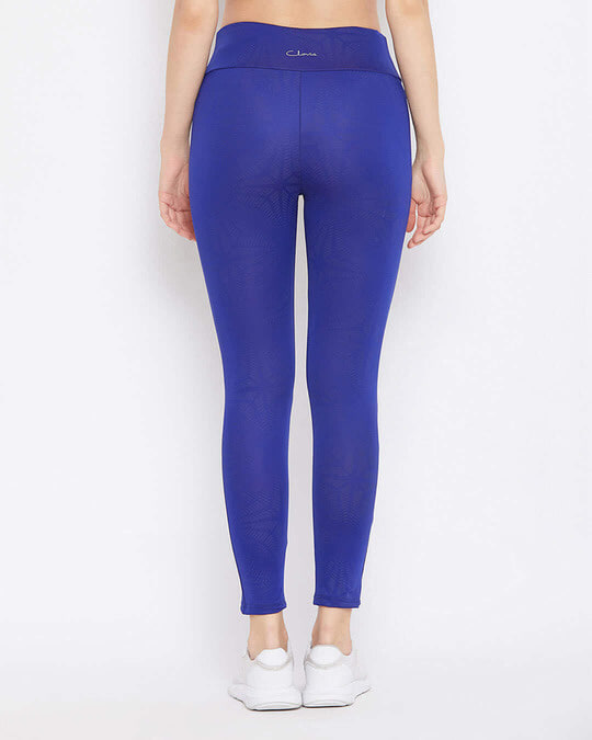 Shop Activewear Ankle Length Tights In Royal Blue-Back