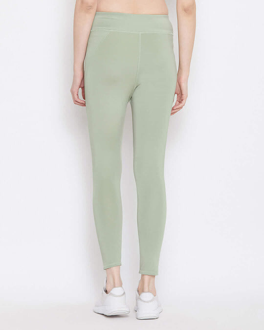 Shop Activewear Ankle Length Tights In Sage Green-Back