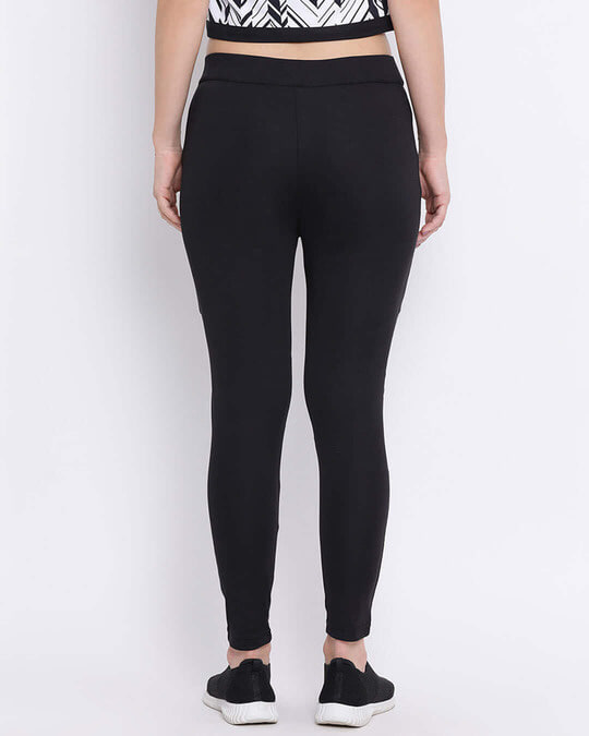 Shop Activewear Tights With Printed Knee In Black-Back
