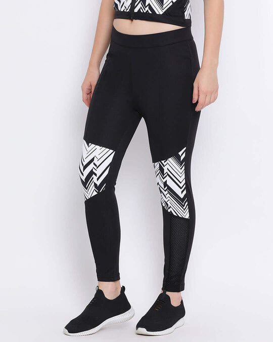 Shop Activewear Tights With Printed Knee In Black-Design