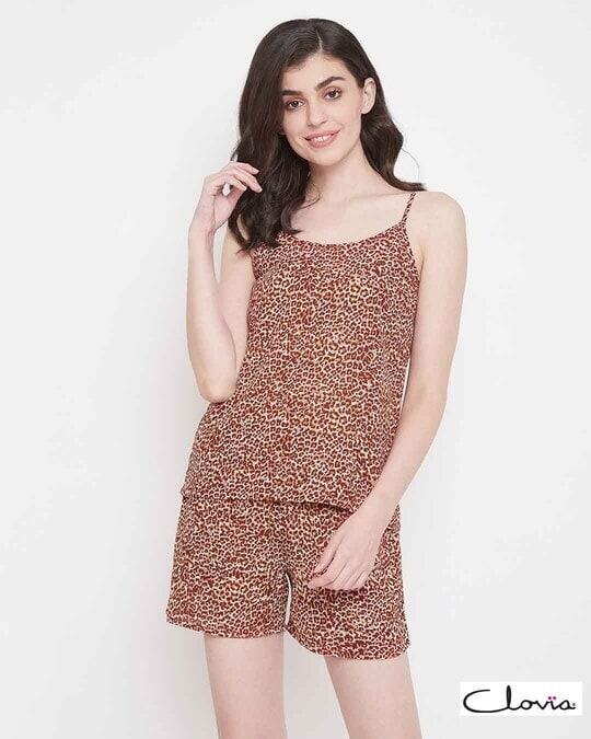 Shop Animal Print Cami Top & Shorts Set In Brown  Crepe-Front