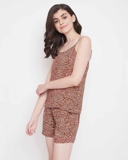 Shop Animal Print Cami Top & Shorts Set In Brown  Crepe-Back