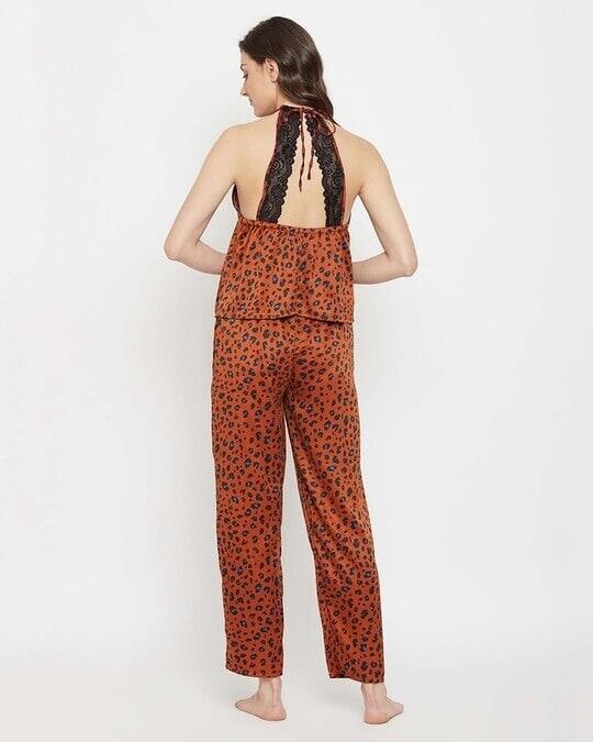 Shop Animal Print Halter Neck Cami Top & Pyjama Set In Brown-Design