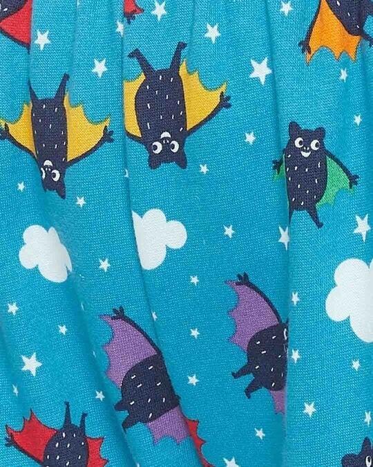 Shop Bat Print Pyjama In Light Blue   Fleece