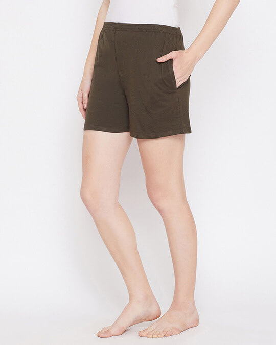 Shop Boxer Shorts In Olive Green-Back