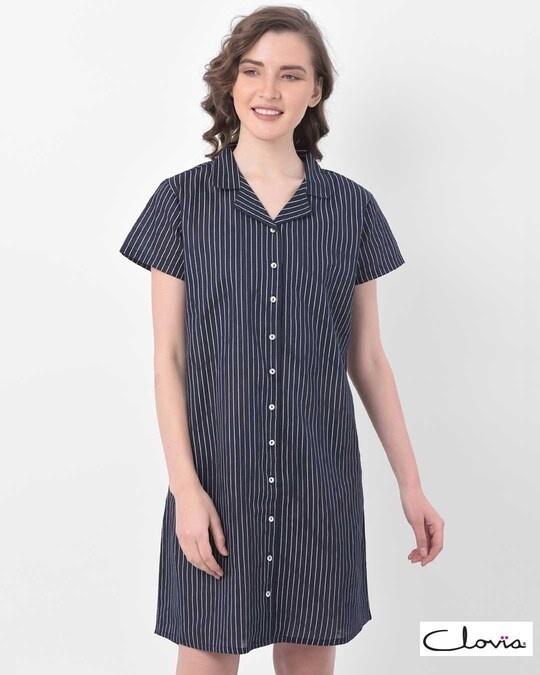 Shop Clovia Button Me Up Sassy Stripes Short Night Dress in Navy -Front