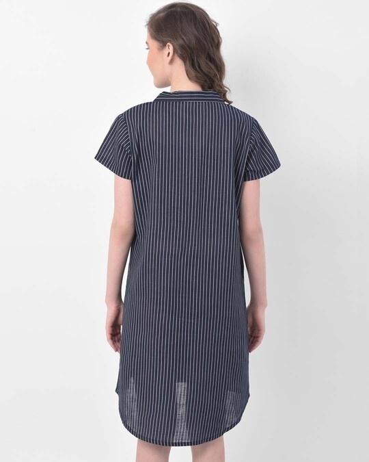 Shop Clovia Button Me Up Sassy Stripes Short Night Dress in Navy -Design