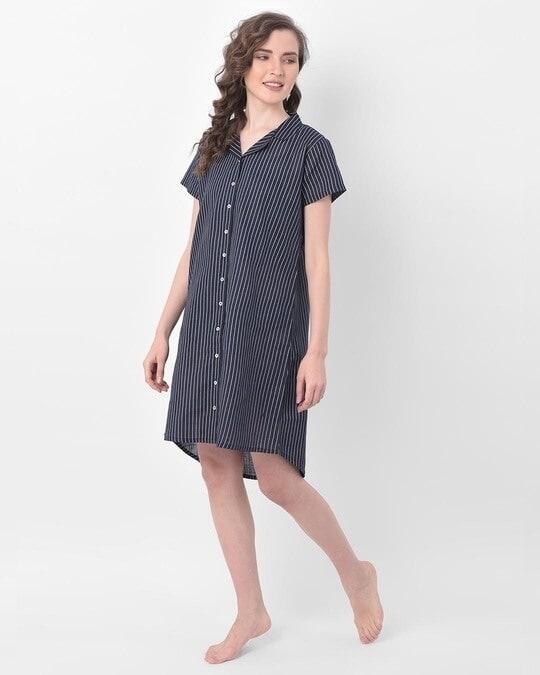Shop Clovia Button Me Up Sassy Stripes Short Night Dress in Navy -Full