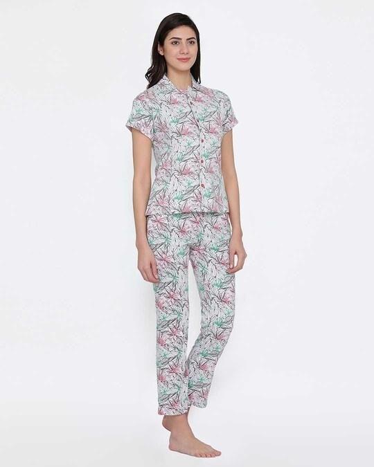 Shop Clovia Button Me Up Shirt & Pyjama Set in Grey - Cotton Base-Design