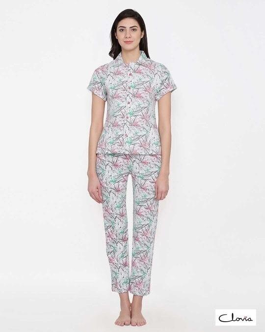 Shop Clovia Button Me Up Shirt & Pyjama Set in Grey - Cotton Base-Front