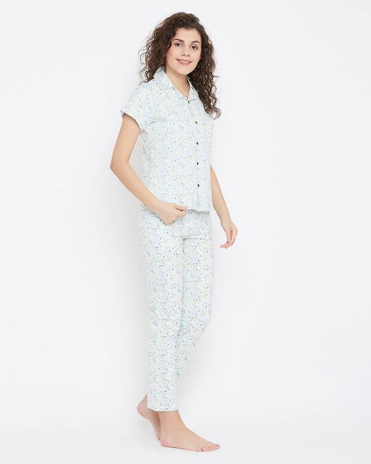 Shop Button Me Up Shirt & Pyjama Set In Light Blue 100% Cotton-Design
