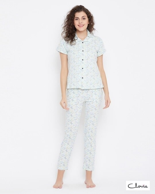 Shop Button Me Up Shirt & Pyjama Set In Light Blue 100% Cotton-Front