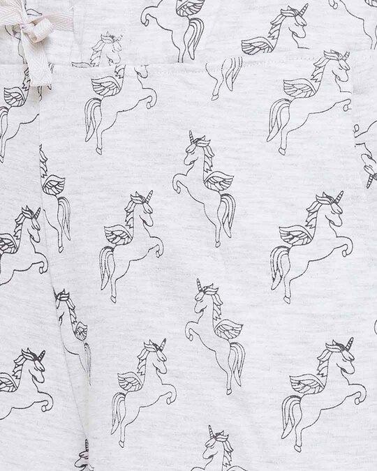 Shop Clovia Button Me Up Unicorn Shorts & Shirt Set in Light Grey- 100% Cotton