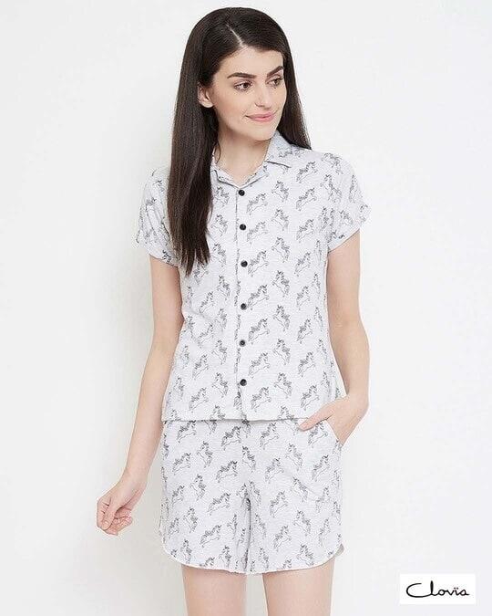 Shop Clovia Button Me Up Unicorn Shorts & Shirt Set in Light Grey- 100% Cotton-Front