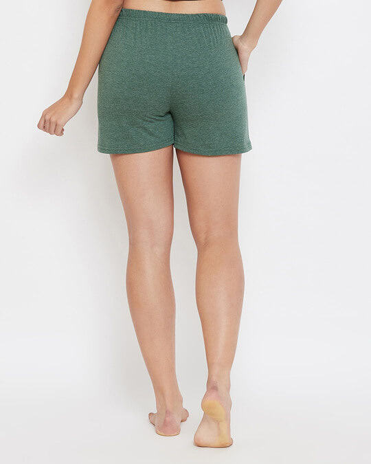 Shop Chic Basic Boxer Shorts In Green  Cotton Rich-Back