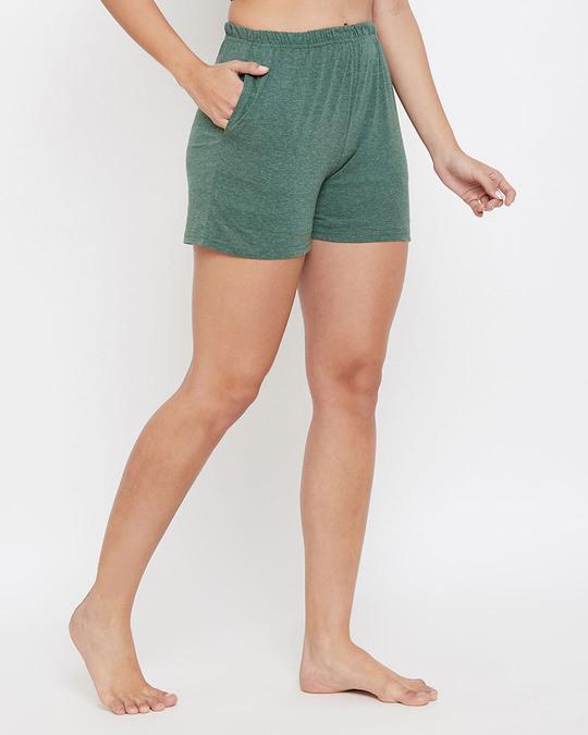 Shop Chic Basic Boxer Shorts In Green  Cotton Rich-Design