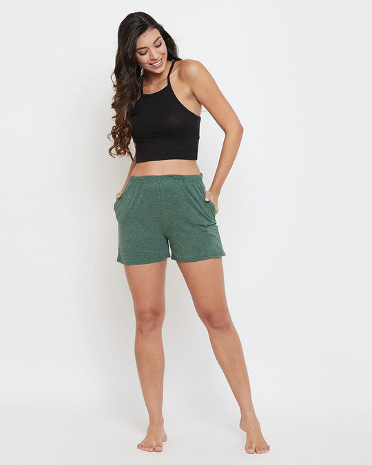 Shop Chic Basic Boxer Shorts In Green  Cotton Rich-Full