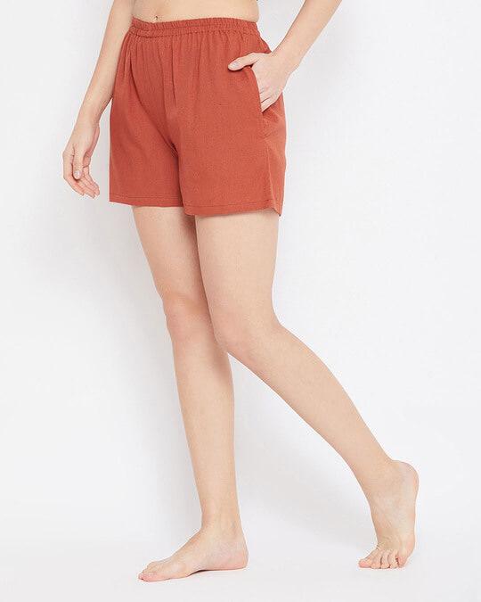 Shop Chic Basic Boxer Shorts In Orange   Cotton Rich-Back