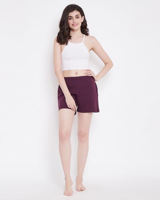 Shop Clovia Chic Basic Boxer Shorts in Purple- Cotton Rich