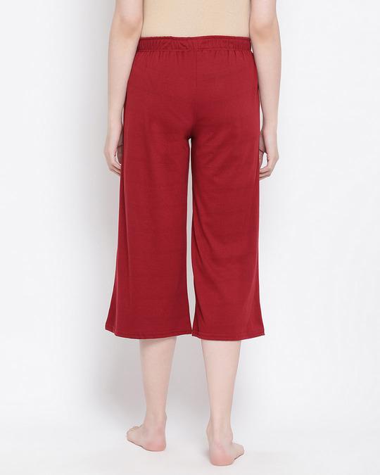 Shop Chic Basic Capri In Maroon  Cotton Rich-Design