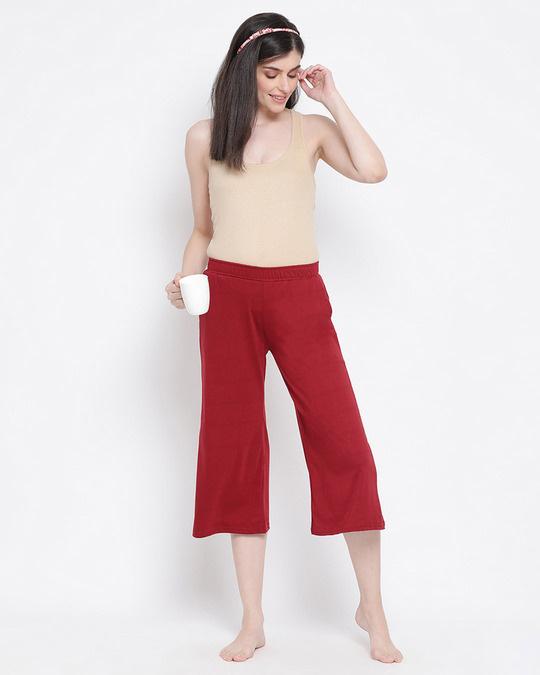 Shop Chic Basic Capri In Maroon  Cotton Rich-Full