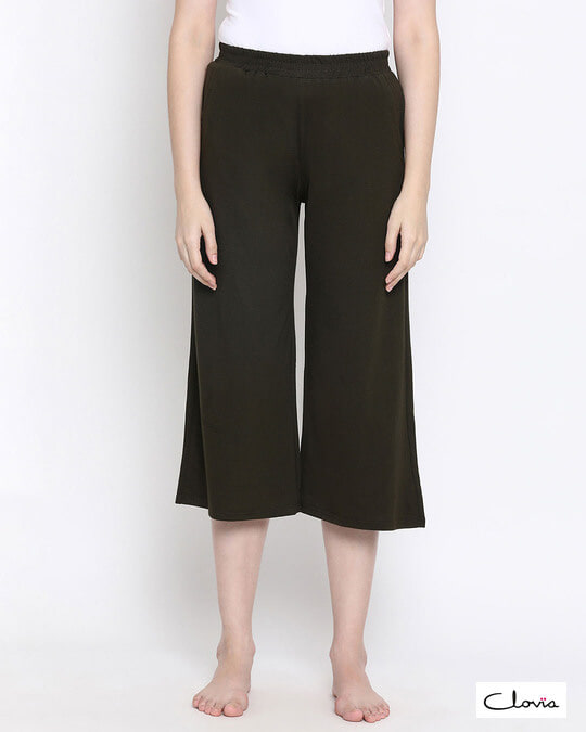 Shop Chic Basic Capri In Olive Green  Cotton Rich-Front