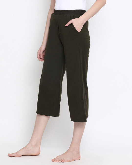Shop Chic Basic Capri In Olive Green  Cotton Rich-Back
