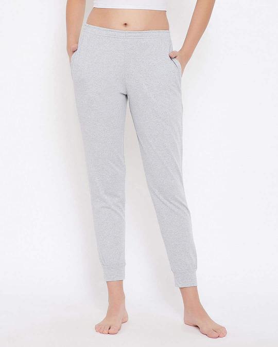 Shop Chic Basic Cuffed Pyjama In Grey   Cotton Rich-Front