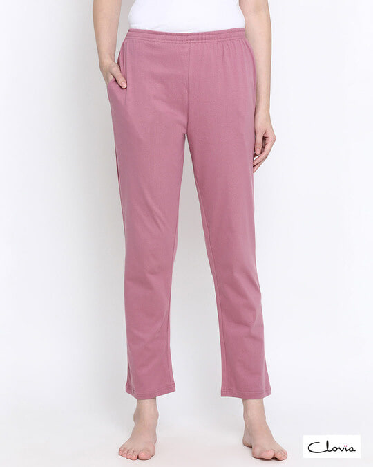 Shop Chic Basic Pyjama In Dusty Pink   100% Cotton-Front