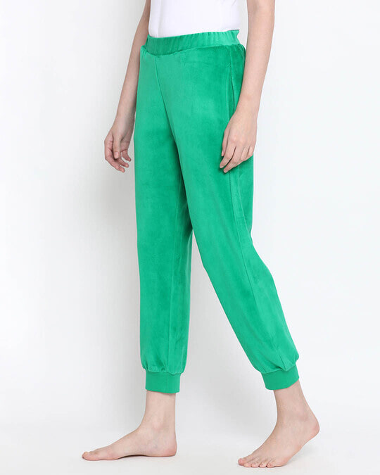Shop Clovia Chic Basic Pyjama in Green- Velour-Back