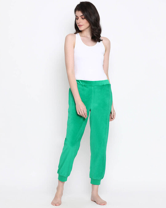 Shop Clovia Chic Basic Pyjama in Green- Velour