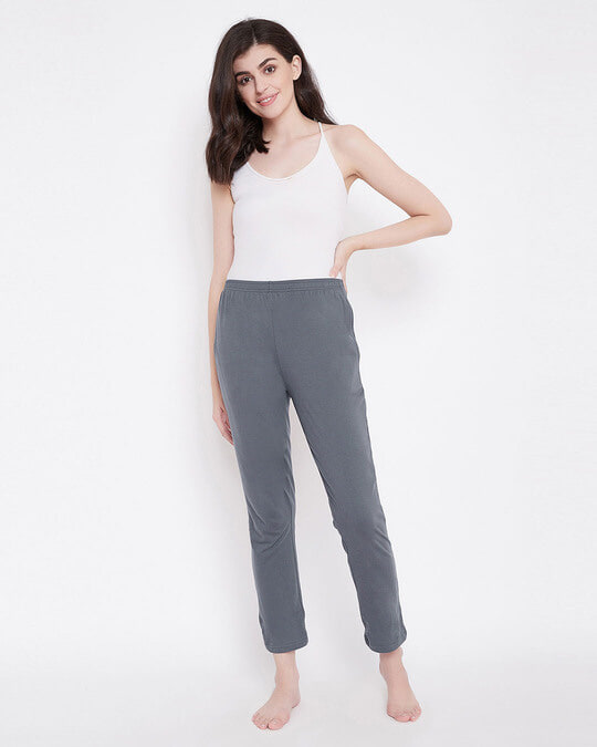 Shop Clovia Chic Basic Pyjama in Grey- Cotton Rich