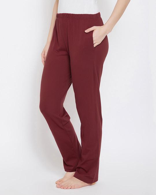 Shop Clovia Chic Basic Pyjama in Maroon- Cotton Rich-Back