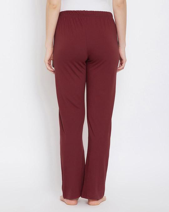 Shop Clovia Chic Basic Pyjama in Maroon- Cotton Rich-Design