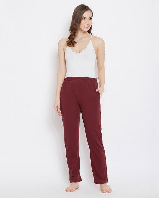 Shop Clovia Chic Basic Pyjama in Maroon- Cotton Rich-Full