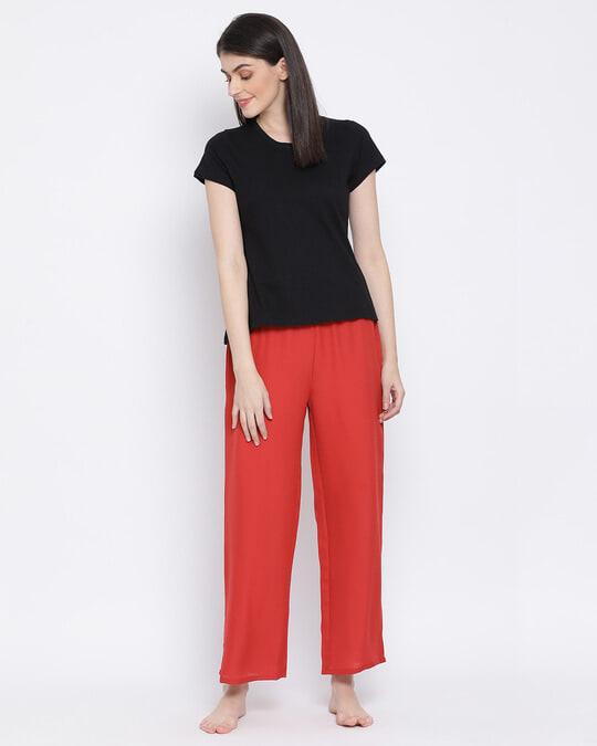 Shop Clovia Chic Basic Pyjama in Orange-Full