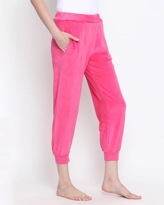 Shop Clovia Chic Basic Pyjama in Pink- Velour-Design