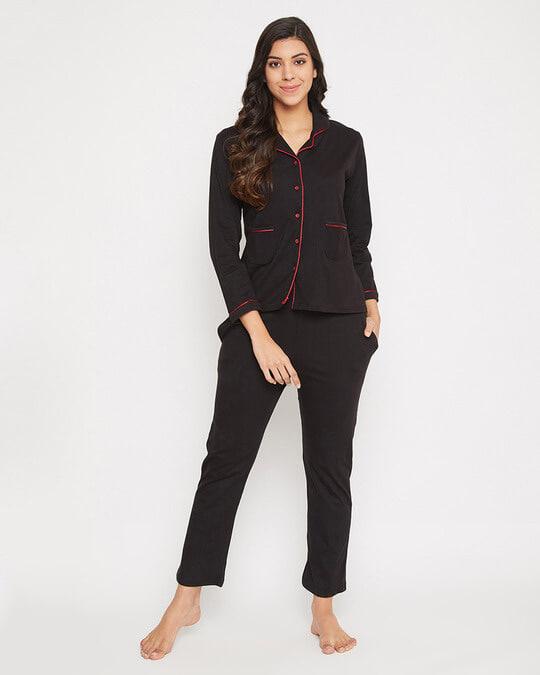 Shop Chic Basic Shirt & Pyjama In Black-Front