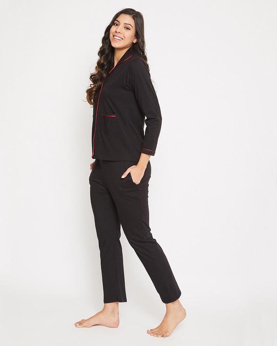 Shop Chic Basic Shirt & Pyjama In Black-Design